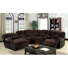 The Championship Chocolate Reclining Sectional Is Covered In A Plush Microfiber It Features Dual Recliners Cupholders And Chaise