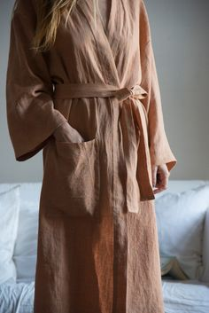 Soft Orange pure linen Bathrobe. His and hers by YUMEcasa on Etsy