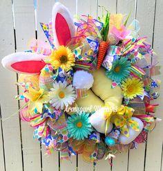 Easter Bunny Wreath, Bunny Butt Wreath, Bunny Bottom Wreath, Easter Wreath, Bunny Wreath, Bunny Legs, Spring Wreath, Carrot Wreath,Deco Mesh by armygurlwreaths on Etsy