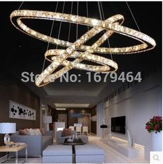 Amber crystal Contemporary And Contracted Fashion Personality 4 Ring Food Sitting Room Bar Art Hanging Crystal LED Lighting