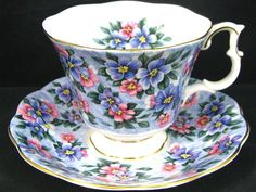 Royal Albert Garden Party Blue Bouquet Tea Cup and Saucer