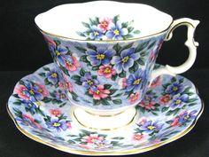 Royal Albert Garden Party Blue Bouquet Tea Cup and Saucer