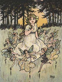 "Florence Hardy - ""Fairies Dancing around Girl"""