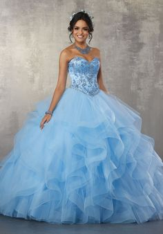 446df03f0 Strapless Ruffled Quinceanera Dress by Mori Lee Vizcaya 89166