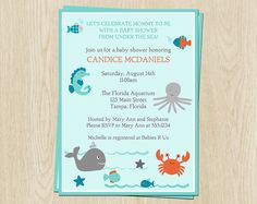 Under the Sea Baby Shower /first bday Invitations Aqua by TheInviteLadyShop