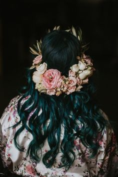 This pink + bottom heavy floral crown is anything but boring | Jphoto by Love Stories by Halie and Alec,
