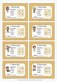 56 addition/subtraktionskort med elevblad och facit - Vilken av de 4 siffrorna i rutorna blir över? Math Sheets, Textiles, Math For Kids, Math Skills, Teaching Math, Teacher, Learning, Pdf, Cards
