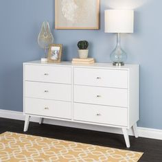 The Prepac Milo 6 drawer dresser is a modern take on a retro look, with a sleek mid-century modern design that adds a touch of vintage styling to your bedroom. Decor, Furniture, 6 Drawer Dresser, Modern Dresser, Bedroom Furniture, Cheap Dresser, Big Furniture, Furniture Layout, Cheap Couch