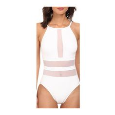 White Mesh Splicing Strap Design One Piece Swimwear (22 AUD) ❤ liked on Polyvore featuring swimwear, one-piece swimsuits, white, one piece bathing suits, white swimsuit, 1 piece bathing suits, white bathing suit y one piece swimsuits