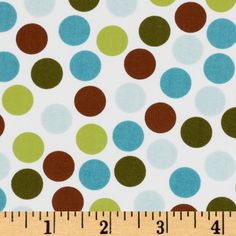Remix Dots Brown/Aqua/White from @fabricdotcom  Designed by Ann Kelle for Robert Kaufman Fabrics