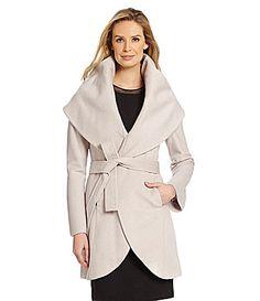 T Tahari Marla Shawl Collar WoolBlend Wrap Coat #Dillards