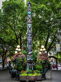 Totem Pole in Pioneer Square Seattle Washington