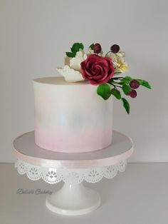A simple water colour cake with some sugar flowers! Cake Flowers, Flower Cakes, Sugar Flowers, Wedding Cake Designs, Wedding Cakes, Wedding Ideas, Colorful Cakes, Party Party, Cake Art