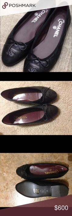 Chanel black ballet flats Super new flats, black, fits a little loose for 36/5, probably around 36/5-37. If you live around the DC area, you can come try in on. CHANEL Shoes Flats & Loafers