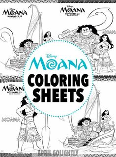 Moana Coloring Sheets – Free Printables from the new Disney Movie Moana with Maui, Heihei, and Pua characters
