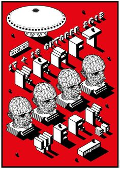 """""""Kraftwerk  3D"""", Concert, October 17/18, 2013, at 'Evoluon Effenaar i.s.m Theatre', Eindhoven, (Germany) ~  Music Concert Poster."""