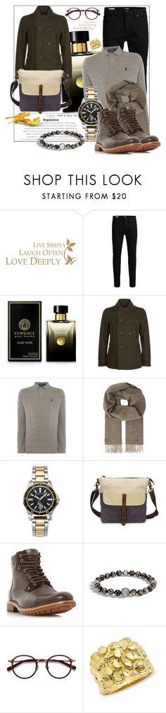 """Retro fashion"" by fashionchronicles365 ❤ liked on Polyvore featuring WALL, Jack & Jones, Versace, Giorgio Armani, Polo Ralph Lauren, BOSS Hugo Boss, U.S. Polo Assn., Bertie, John Hardy and EyeBuyDirect.com"