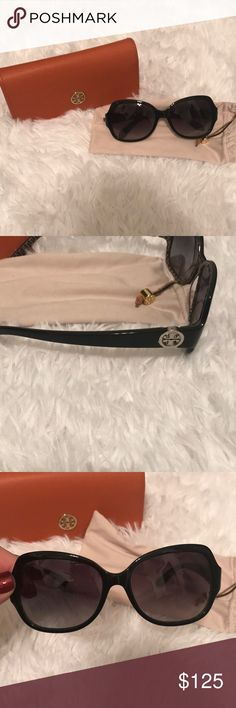 Tory Burch sunglasses with case Tory Burch sunglasses with case. Authentic and in great condition. Small scratch to the right lens. Not noticeable. Close up picture of the right lens. Tory Burch Accessories Sunglasses