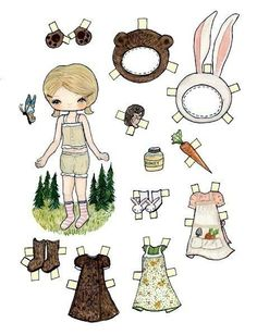Paper Dolls Deer Bear Mushroom Bunny Rabbit  Forest ………………………… by thepoppytree (Photo Courtesy of Etsy)