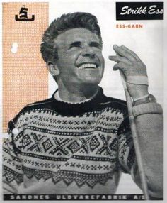 The Marius Sweater, a Norwegian Icon. The history of the design. From Lillunn, Norwegian knitwear design website & online store. Norwegian Flag, Norwegian Knitting, Norwegian Style, Fair Isle Knitting, Hand Knitting, Knitting Patterns, Vintage Ski, Wool Fabric, Pullover