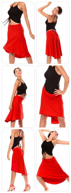 Salsa & Tango Skirt 'Brasilia`. Tango Red promises excitement and adventure. A beautiful Salsa and Tango skirt in conspicuous color and classic form. www.mavalou.com
