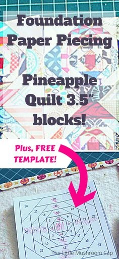 Foundation paper piecing Pineapple Quilt. Mini blocks. Free template