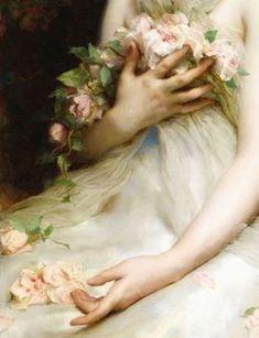 Девушка в белом платье сидит с цветами, художник Etienne Adolphe Piot