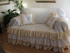 shabby chic sofa slipcoverthrow 39500 via Etsy slipcovers