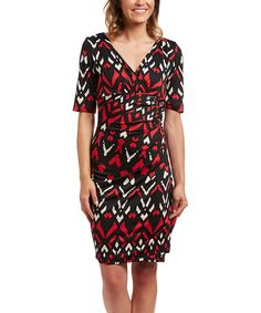Another great find on #zulily! Black & Red Chevron Ruched Surplice Dress #zulilyfinds