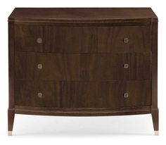 Nightstand | BernhardtFigured Flat Cut Walnut veneers Brunette finish Three drawers Metal ferrules in Vintage Nickel finish Adjustable glides Anti-tip kit Specifications subject to change without notice. $1,302