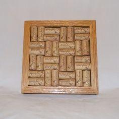 Oak Framed Wine Cork Trivet