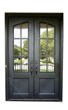 Double Front Entry Doors, Iron Front Door, Front Door Entrance, Glass Front Door, Exterior Entry Doors, Traditional Front Doors, Front Door Makeover, Wrought Iron Doors, Front Door Design