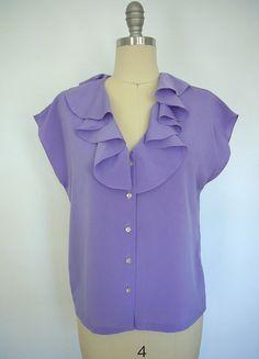 Vintage Blouse / Collegian Brand / Purple Lavender / 1960s 1970s