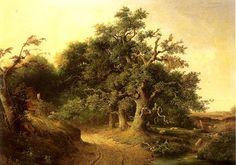 Een fraai schilderij met de titel Wodanseiken te Wolfheze uit 1849 van J.J.Cremer