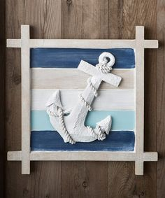 Accent your home with this seafaring wall decor that features a three-dimensional anchor motif. Set on a blue-and-cream striped background, the soft hues of this wall decor are reminiscent of the brea Nautical Bedroom, Nautical Bathrooms, Nautical Home, Nautical Anchor, Anchor Bedroom, Anchor Wall Decor, Anchor Decorations, Anchor Home Decor, Nautical Wall Decor