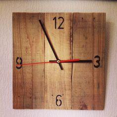 Handmade rustic clock made from recycled pallet wood. We have lots of pallet wood clocks and driftwood clocks available, all completely handcrafted. Check out our Facebook page for more: www.facebook.com/rusticwoodencreations