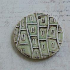 Urban Grid Ceramic Pendant OOAK Large Round by MarshaNealStudio,