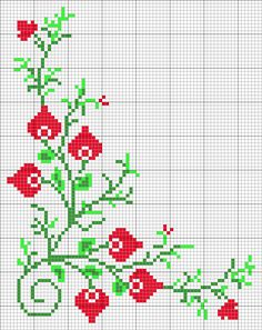 Cross Stitch Borders, Cross Stitch Rose, Cross Stitch Flowers, Counted Cross Stitch Patterns, Cross Stitch Designs, Cross Stitching, Christmas Runner, Christmas Cross, Vintage Christmas