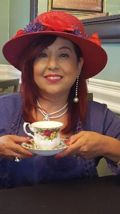 Red Hat Tea Beauty Jenny Joseph, Red Hat Society, Lady In Waiting, Pink Hat, Red Hats, Red Purple, Cowboy Hats, Lavender, Tea
