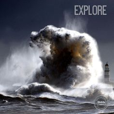 2013 National Geographic Traveler Photo Contest info A raging sea dwarfs Seaham Lighthouse in County Durham in England, with 100 ft waves after a cold front moved down from the north bringing freezing temperatures to the North of England by Owen… No Wave, Formation Digital, Fuerza Natural, Durham England, Newcastle England, England Uk, Huge Waves, Giant Waves, Concours Photo