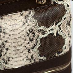 Back-cut genuine python leather handbag