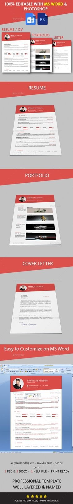 Bright Contrast Resume Template Resumes templates Pinterest