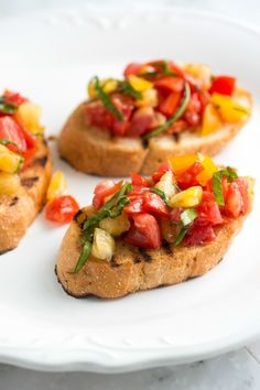 Simple bruschetta recipe with tomatoes and basil. Plus, five easy tips for how to make it best. From inspiredtaste.net | @inspiredtaste