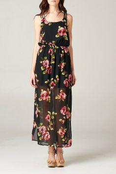 //SWEET RAIN// Floral Maxi Dress Black