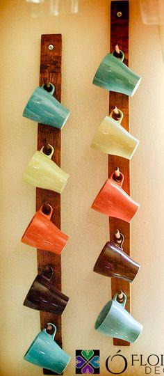 Wine Barrel Stave Coffee Mug Rack - Decor Diy Home Coffee Mug Storage, Coffee Mugs, Coffee Mug Display, Coffee Cup Rack, Coffee Cup Holders, Coffe Bar, Mug Holder, Coffee Shop, Coffee Counter