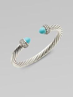 David Yurman: Turquoise & Diamond Sterling Silver Cable Bracelet. Caribbean Style.