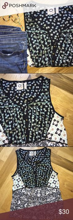 18cbd66c1b Anthropologie Top Beautiful Akemi + Kin mixed floral top with mint  embroidery details and brass buttons