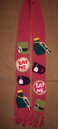 Alice In Wonderland Mad Tea Party Crochet Scarf