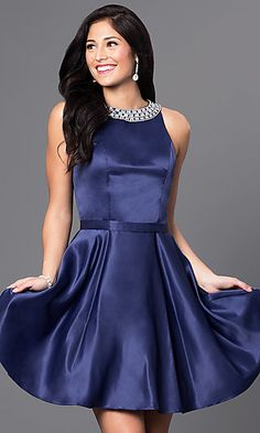 4d8e1b8f1dc Short A-Line Homecoming Dress with Jeweled Collar Satin Cocktail Dress