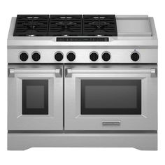 Kitchenaid Commercial Style 48 In 6 3 Cu Ft Slide Double Oven Dual Fuel Range Self Cleaning Convection Stainless Silver